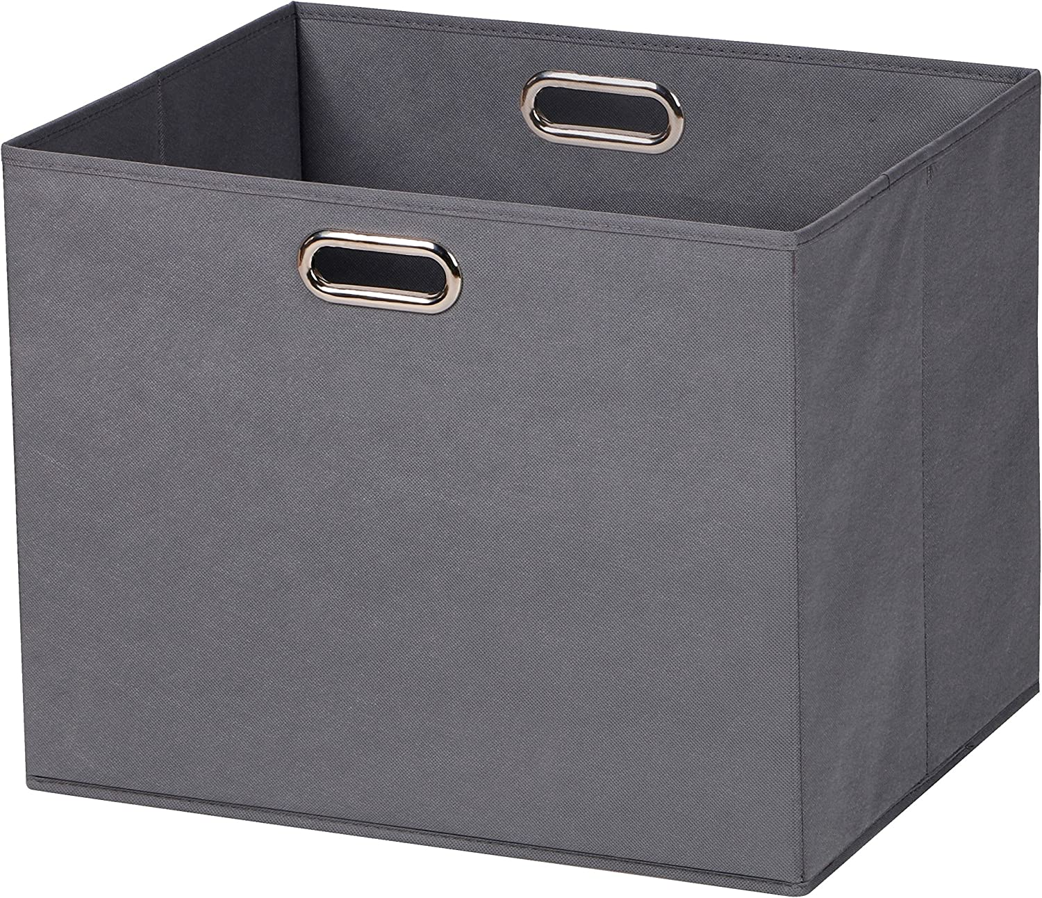 Prorighty 2-Pack Jumbo Storage Bins   Largest Basket 17.7 inch Dual Metal Handles   Foldable Containers, Boxes, Tote, Baskets  for Offices, Nursery, Toys, Laundry, Gifts  Household Organization  Grey