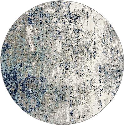 Safavieh Jasper Collection JSP107G Modern Abstract Area Rug, 3' x 3' Round, Grey / Blue