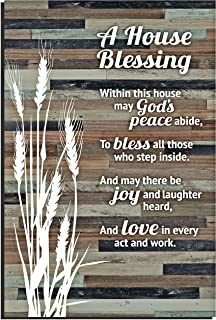 House Blessing Rustic Wood Plaque - Easel & Hanging Hook 6x9 Inch - Vertical Plaques Wall Art & Tabletop Decoration for Your Home or Office | A House Blessing within this house may Gods Peace abide...