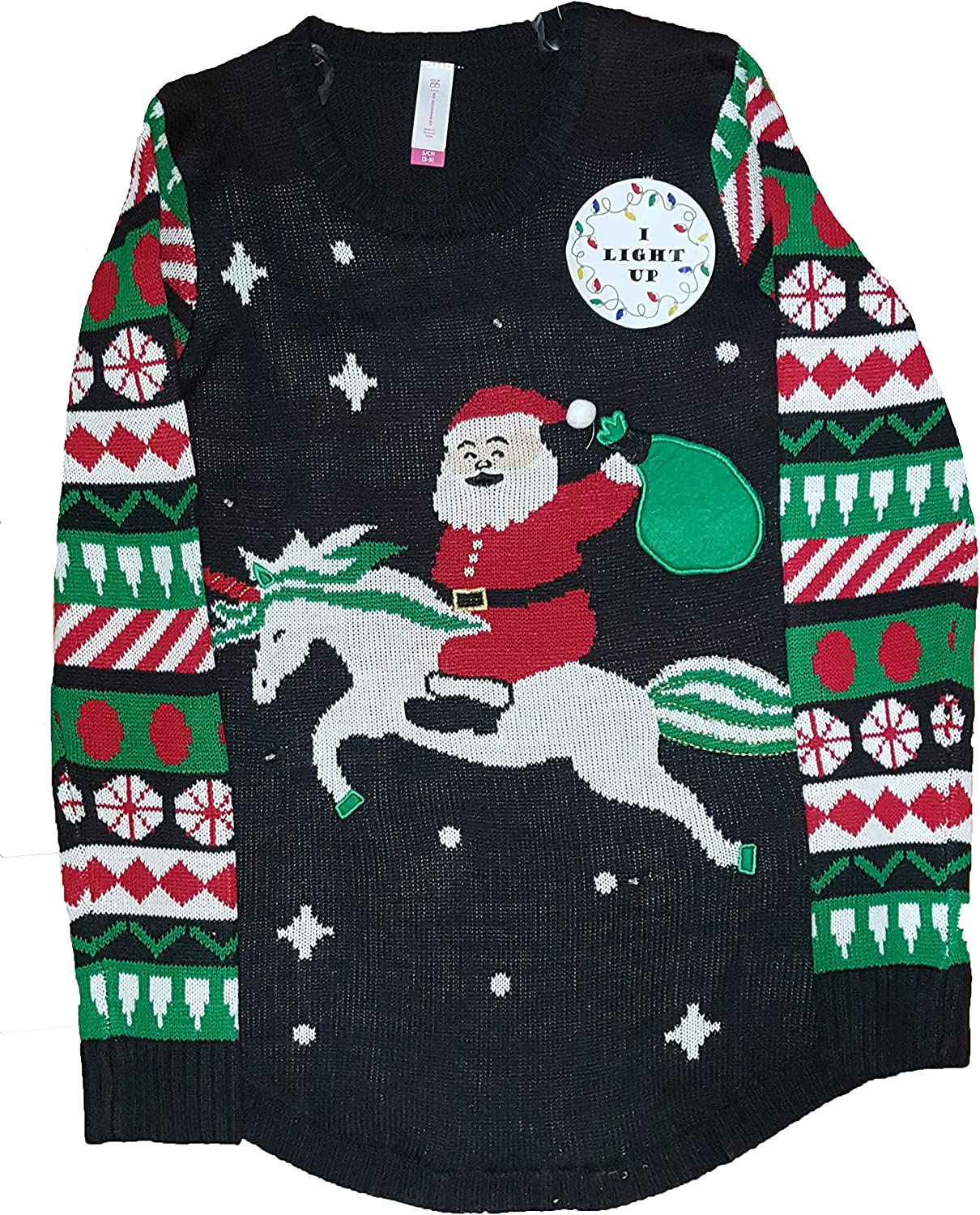 No Boundaries Juniors Light Up Christmas Unicorn Santa Holiday Sweater