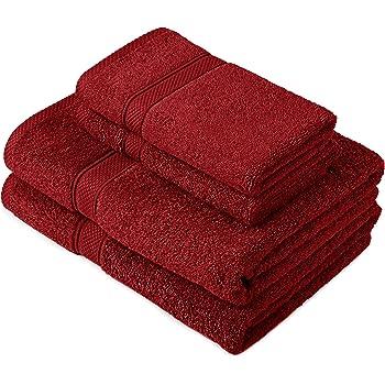 Pinzon by Amazon - Juego de toallas de algodón egipcio (2 toallas de baño y 2 toallas de manos), color rojo: Amazon.es: Hogar
