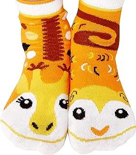 Childrens Monkey & Giraffe Jungle Animal Pals Mismatched Fun Modern Geometric Socks for Boys Girls