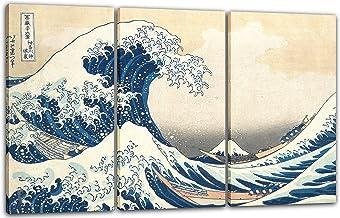 Lienzo de arte impreso de 76/x 51/cm con /«La gran ola de Kanagawa/» de Katsushika Hokusai.