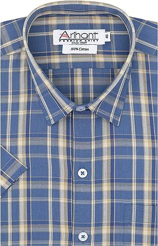 GHPC Checkered 100 Cotton Half Sleeves Regular Fit Formal Shirt For Men