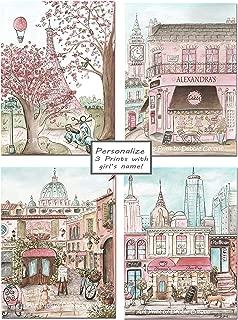 Travel Theme Nursery Prints Personalized, Shabby Chic Paris London New York Rome, Set Of 4, 6 Sizes - 5x7 To Poster