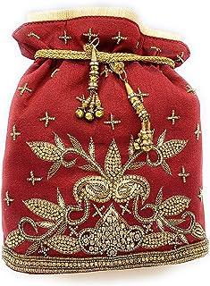 WOMEN'S DESIGNER ELEGANT ROYAL HANDMADE POTLI BAG/HANDBAG/PURSE/CLUTCH BAG ADORA ACI 081 MAROON