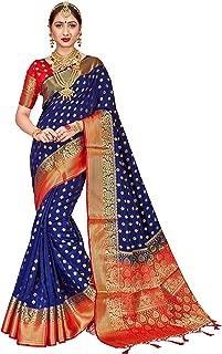 Sarees for Women Banarasi Art Silk Woven Work Saree l Indian Wedding Traditional Wear Sari and Blouse Piece