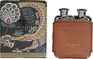 Ted Baker ATED458 Men's Brown Brouge Kiku Stainless Steel Double Hip Flask with Leather Effect Case 2-3 fl oz