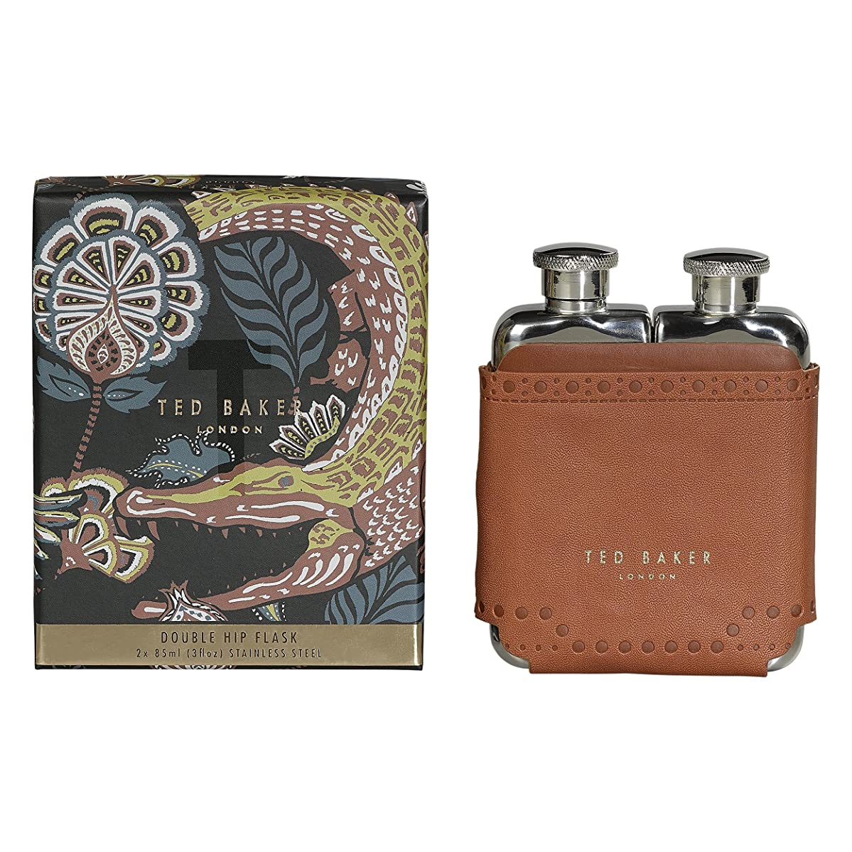 Ted Baker ATED458 Men's Brown Brouge Kiku Stainless Steel Double Hip Flask with Leather Effect Case, 2-3 fl oz