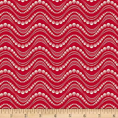 Red & Blue And Rose Too Water Beads Red Quilt Fabric