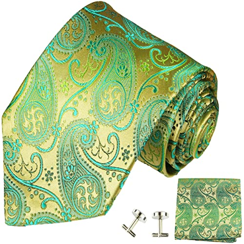 f29039030265 Paul Malone Necktie, Pocket Square and Cufflinks 100% Silk Gold Green  Paisley