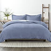 طقم ملاءات سرير من 3 قطع من سيمبلي سوفت بريميوم بلو دايموند باترن ماسي، مقاس King/California King، أزرق داكن