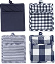 DII Gingham Check Collection, Potholder Set, Navy 4 Count