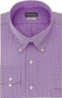 Mens Dress Shirts Regular Fit Gingham Button Down Collar