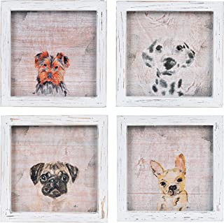 NIKKY HOME Vintage Framed Dogs on Wood Background Country Home Décor Wall Art