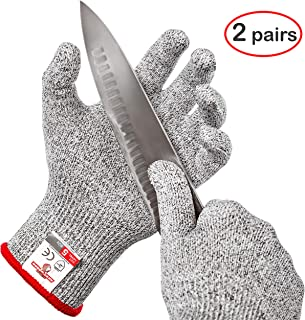 HereToGear Cut Resistant Gloves - 2 PAIRS XS for Kids - Food Grade, Level 5 Protection - Work for Whittling and Fishing - FDA Test