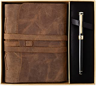 $44 » Premium Leather Journal Gift Set by Scriveiner London – Black Lacquer & 24K Gold Luxury Rollerball Pen, 7x5 Inch Handmade Genuine Leather Journal, Cotton Paper, Christmas, Leather Anniversary Gifts