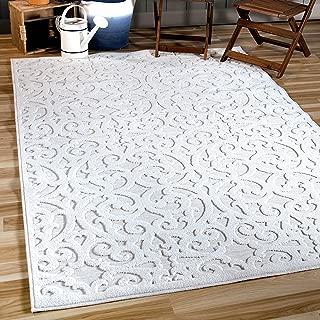 """Orian Sculpted 4704 Indoor/Outdoor High-Low Debonair Natural Area Rug, 7'9"""" x 10'10"""", Ivory"""