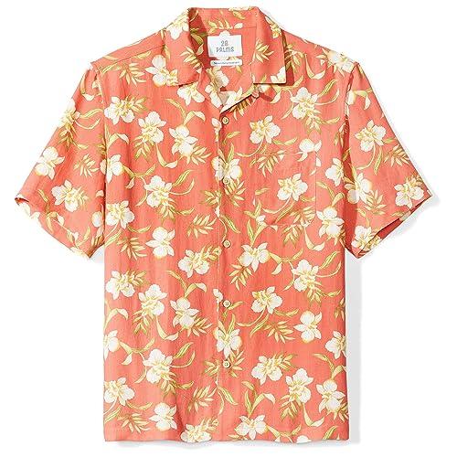 5f4f00b2ab7a Amazon Brand - 28 Palms Men s Relaxed-Fit Silk Linen Tropical Hawaiian Shirt