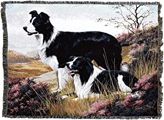 Pure Country Weavers - Border Collie Woven Tapestry Throw Blanket with Fringe Cotton USA Size 72 x 54