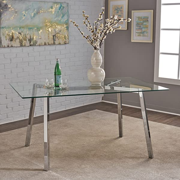 Great Deal Furniture 303715 Verna Tempered Glass Dining Table Clear Chrome