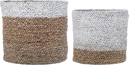 Bloomingville Round White & Brown Sizes White Stripe Natural Seagrass Baskets (Set of 2)