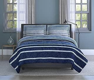 Inspired Surroundings, Blue, Harper Stripe Comforter Set, King