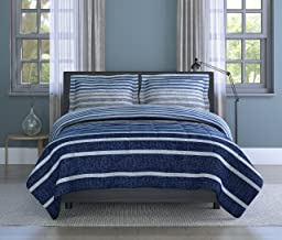Inspired Surroundings, Blue, Harper Stripe Comforter Set, King