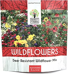 Deer Resistant Wildflower Seed Mixture - Bulk 1 Ounce Packet - Over 15,000 Deer Tolerant Seeds - Open Pollinated and Non GMO