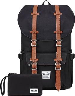 "Laptop Outdoor Backpack, Travel Hiking& Camping Rucksack Pack, Casual Large College School Daypack, Shoulder Book Bags Back Fits 15"" Laptop & Tablets by Kaukko (Nblack 2pcs)"