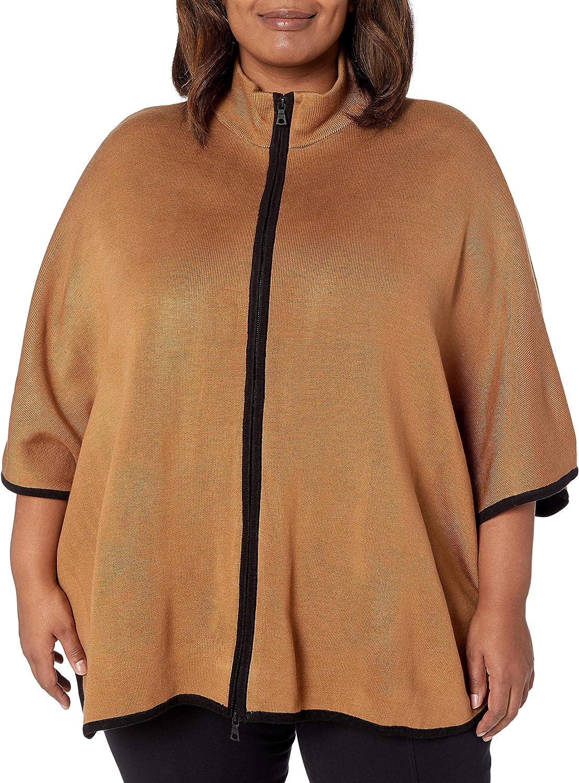 Anne Klein Women's Plus Size Colorblocked Zip Front Cape