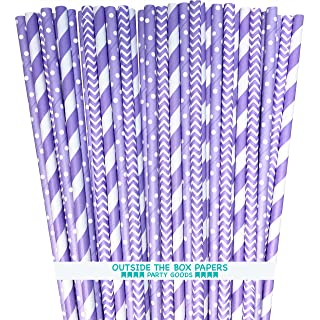 Lavender Lilac White Paper Straws Stripe Chevron Polka Dot - 7.75 Inches - 100 Pack - Outside the Box Papers Brand