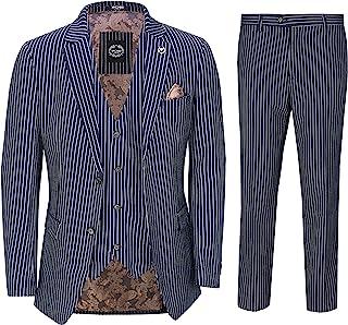 Mens Navy Blue 3 Piece Chalk Pinstripe Suit Classic Vintage Tailored Fit 1920s
