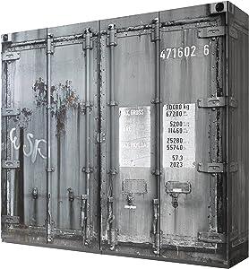 AVANTI TRENDSTORE - Conti - Armadio ad Ante a Battente in Legno Laminato di Colore Grigio, Ante e fiancate con Ottica di Un Container. Dimensioni Lap 237x224x59 cm