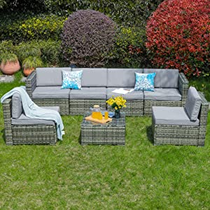 YITAHOME 7 Pieces Patio Furniture Set, Outdoor Conversation Set, Outside Sectional Sofa PE Rattan Wicker Set with Table and Cushion for Porch Lawn Garden and Poolside, Gray Gradient
