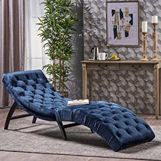 blue tufted chaise lounge