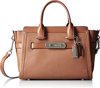 Women's Pebbled Leather Coach Swagger 27 Silver/Saddle Satchel