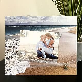 "Seafoam Beach travel ocean starfish sand waves seashells tropical destination gift handmade magnetic picture frame holds 5"" x 7"" photo 9"" x 11"" size"