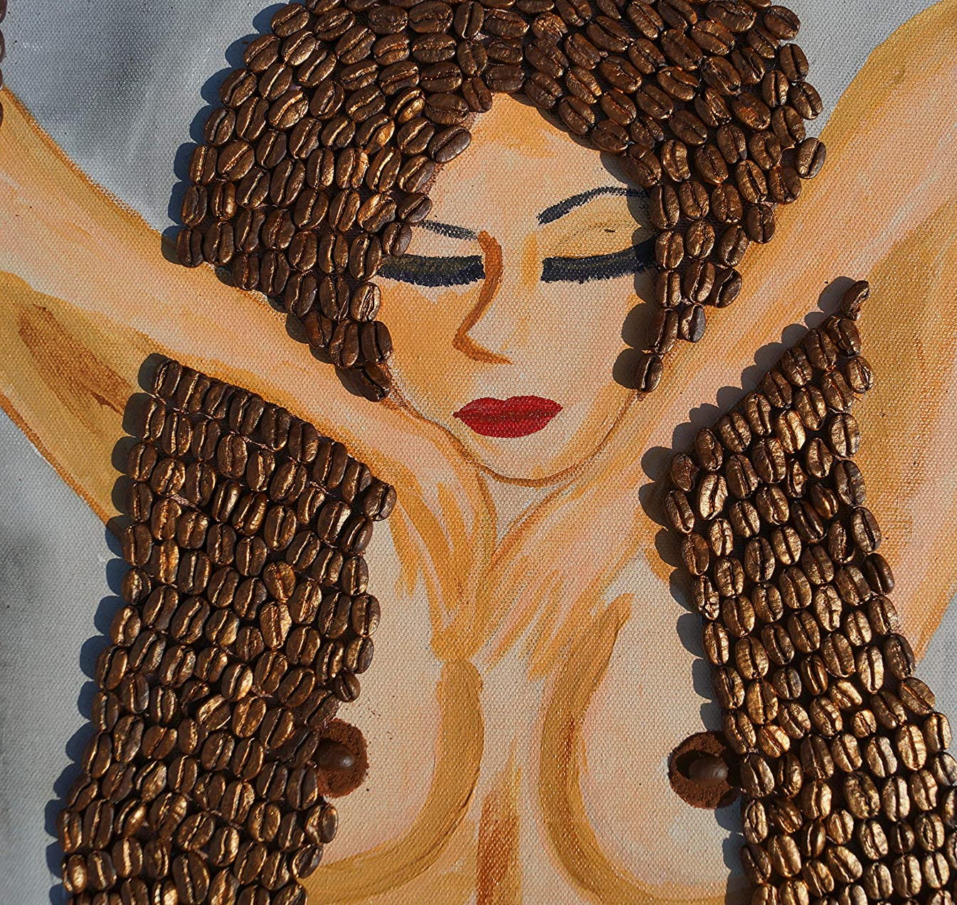 She, Drawing, Art, Watercolor Painting with Real Coffee Beans. 100% Handmade.