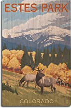 Lantern Press Estes Park, Colorado - Elk and Mountains (10x15 Wood Wall Sign, Wall Decor Ready to Hang)