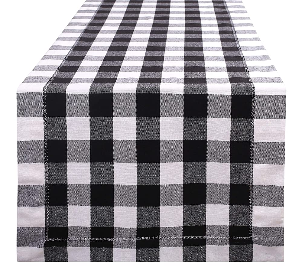 Farmhouse Table Runner in Cotton Buffalo Check with Hemstitched Detailing,Decorative Table Runner,Rustic Bridal Shower Decor Table Runner,Wedding Table Runner-16x108 Black White