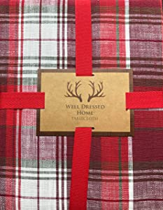 Well Dressed Home Tablecloth Holiday Christmas Checked Plaid Pattern in Shades of Red and White, with Thin Green Stripes, 70 Inches x 84 Inches