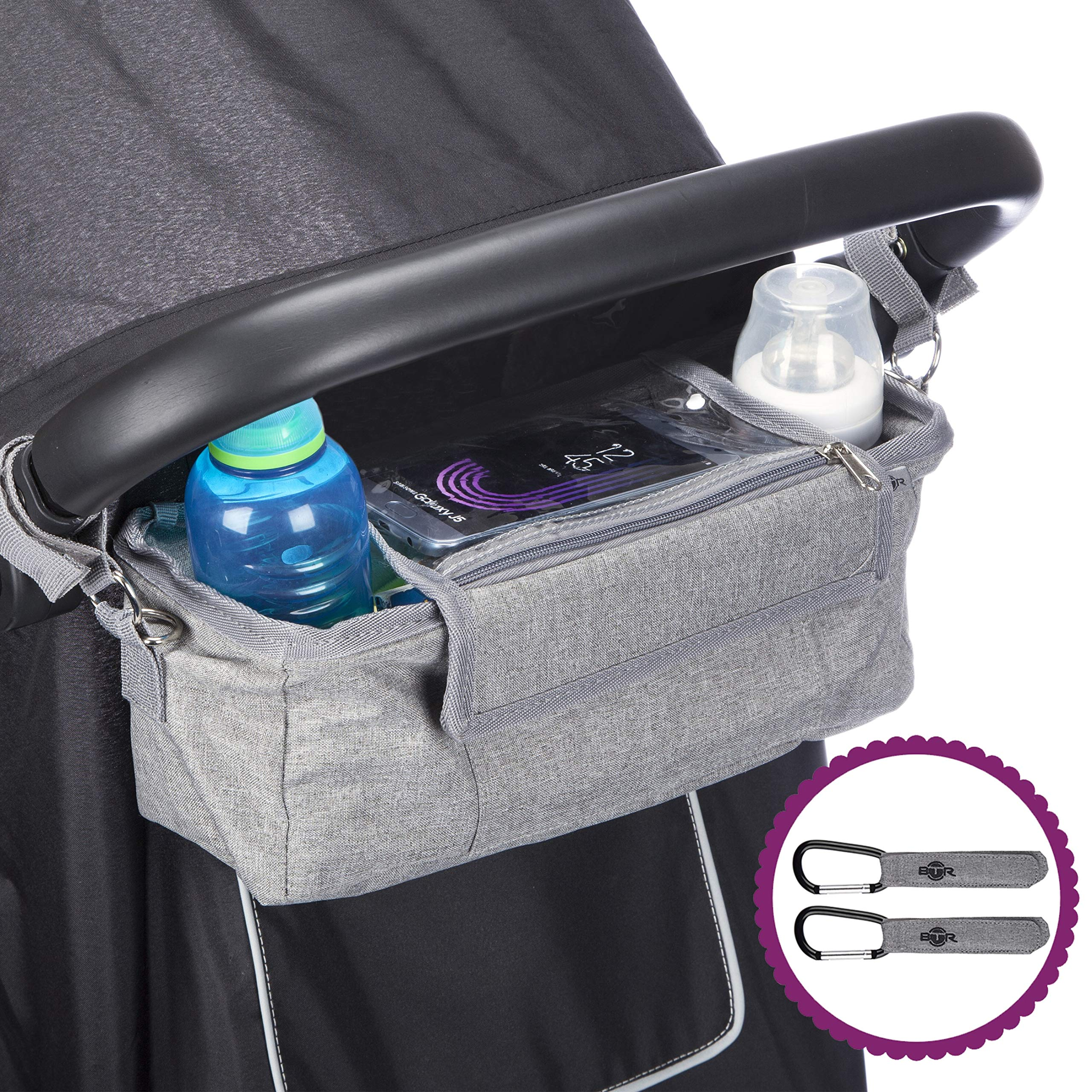 BTR Buggy Organiser Pram Bag /& Waterproof Cover /& Phone Pocket /& 2 x Pram Hooks