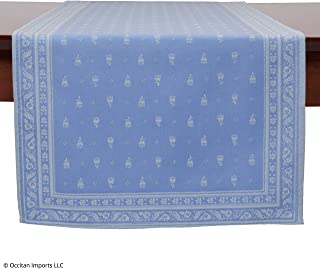 Occitan Imports Durance Blue Jacquard French Table Runner, 20 x 63