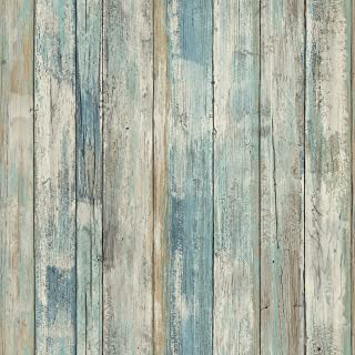 RoomMates Distressed Wood Blue Peel and Stick Wallpaper | Removable Wallpaper | Self..