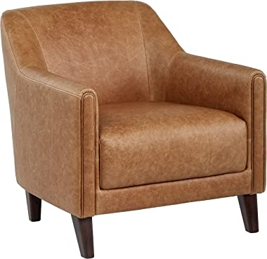 """Amazon Brand – Stone & Beam Grover Modern Living Room Accent Chair, 30""""W, Cognac Leather"""