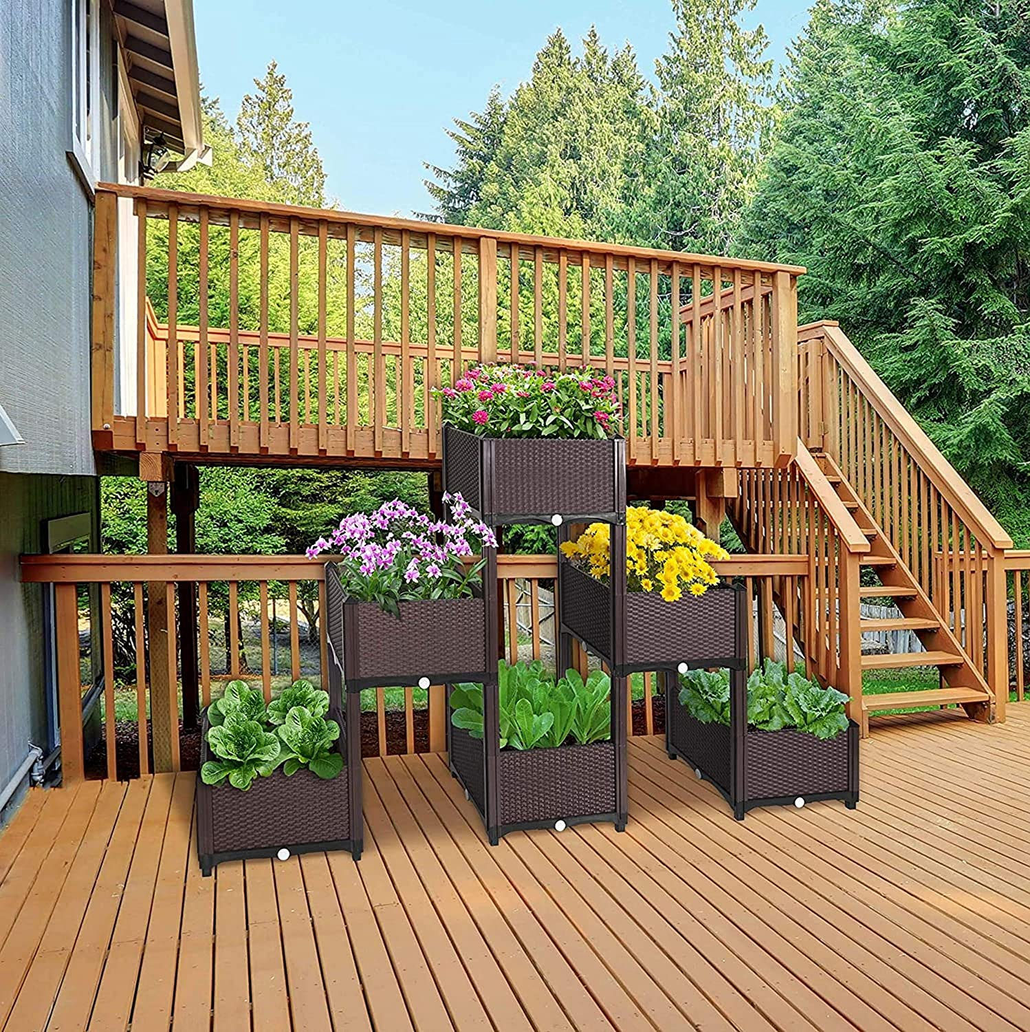 Kingmys Vegetables Plant Raised Bed kits, Elevated Raised Garden Bed Planter box for Flowers Vegetables Fruits Herbs, Outdoor Indoor Planting Box Container for Garden Patio Balcony Restaurant