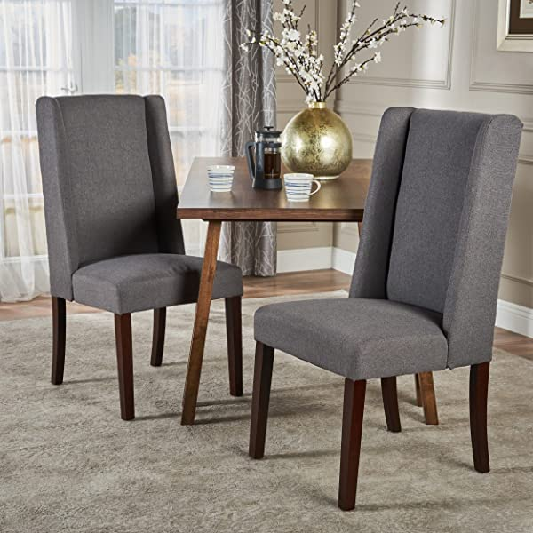 Christopher Knight Home 300212 Rory Fabric Dining Chair Set Of 2 Dark Grey