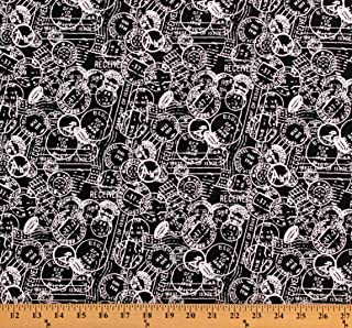 Cotton Postage Stamps White Stamps on Black Postal Marks Stationery Patrick Lose Basically Black & White Cotton Fabric Print by The Yard (D768.38)