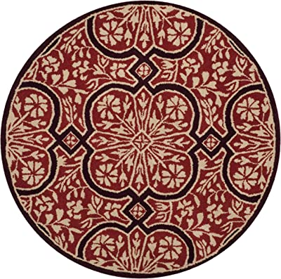 Martha Stewart Safavieh Collection MSR4551A Handmade Premium Wool Vermillion Area Rug (8' Diameter)